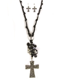 4030176 Corded Chain Bead Cross Christian Necklace and Earring Set Jesus Reli...