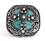 4030178 Christian Cross Turquoise Religious Stretch Ring Bible