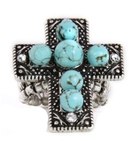 4030179 Christian Cross Turquoise Religious Stretch Ring Bible