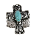 4030180 Christian Cross Turquoise Religious Stretch Ring Bible