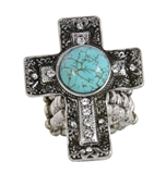 4030181 Christian Cross Turquoise Religious Stretch Ring Bible