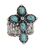 4030182 Christian Cross Turquoise Religious Stretch Ring Bible