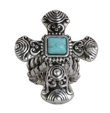 4030183 Christian Cross Turquoise Religious Stretch Ring Bible