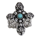 4030184 Christian Cross Turquoise Religious Stretch Ring Bible