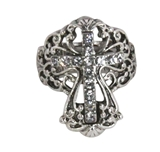 4030185 Christian Cross CZ Crystals Religious Stretch Ring Bible
