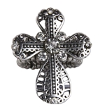 4030186 Christian Cross CZ Stones Religious Stretch Ring Bible