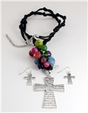 4030202 Beautiful Multi Colored Jesus Cross Christian Necklace and Earring Se...