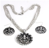 4030203 Beautiful Fleur De Lis Necklace and Earring Set