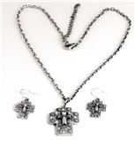 4030204 Beautiful Jesus Cross Christian Soldier Necklace and Earring Set Reli...