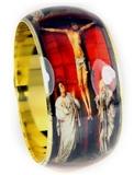 4030229 Crucifixion Bangle Cuff Bracelet Religious Medieval Renaissance Style