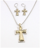 4030270 Cross Christian Necklace and Earring Set Two Tone Gold and Silver Pla...