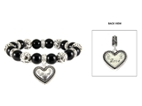 4030286 Love Beaded Stretch Bracelet with Heart Charm Ornate Intricate Design