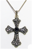 4030292 Cross Neckace Christian Scripture Religious Jewelry Black Onyx