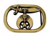 4030329 Solid Brass Shriner Belt Buckle Shrine Scimitar Crescent and Star