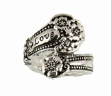 4030358 Spoon Style Stretch Ring LOVE Inscribed Antiqued Finish Jewelry
