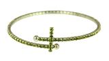 4030373 Rhinestone Cross Hoop Earrings Flexible Petite Christian