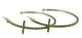 4030379 Rhinestone Cross Hoop Earrings Flexible Petite Christian
