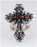 4030417 Cross Christian Multi Color Stretch Ring Religious Rhinestone