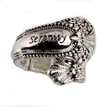 4030440 Spoon Style Stretch Ring SERENITY Inscribed Antiqued Finish Jewelry