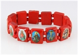 4030462 Wood Holy Saints and Icons Christian Jesus Christ Stretch Bracelet Ca...