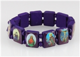 4030463 Wood Holy Saints and Icons Christian Jesus Christ Stretch Bracelet Ca...