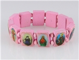 4030465 Wood Holy Saints and Icons Christian Jesus Christ Stretch Bracelet Ca...