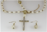 4030513 Beaded Cross Necklace Christian Scripture Jesus Bible Religious