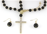 4030514 Beaded Cross Charm Necklace Christian Scripture Jesus Bible Religious