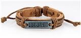 4030524 BELIEVE Leather Bracelet Hope Inspirational Encouragement