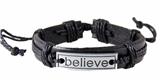 4030526 BELIEVE Leather Bracelet Hope Inspirational Encouragement