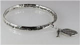 4030656 Matthew 19:26 Christian Bangle Bracelet With Fish Icthus Charms All T...