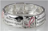4030687 Pink Ribbon Stretch Bracelet Breast Cancer Awareness Inner Strength Hope