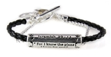 4030717 Jeremiah 29:11 Christian Bracelet Braided Leather Chain Religious Cro...