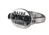 4030728 Live Laugh Love Christian Stretch Ring Religious Cross Bible Scripture