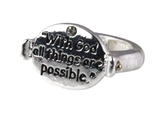 4030731 With God All Things Are Possible Christian Stretch Ring Religious Cro...