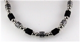 4030749 Silver Tone and Wood Bead Necklace Choker