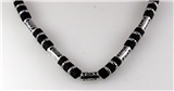4030750 18 Inch Silver Tone and Wood Bead Necklace Choker Puka Style Fashion