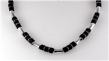 4030751 18 Inch Silver Tone and Wood Bead Necklace Choker Puka Style Fashion