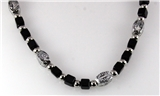 4030752 18 Inch Silver Tone and Wood Bead Necklace Choker Puka Style Fashion