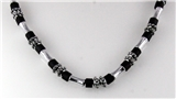 4030753 18 Inch Silver Tone and Wood Bead Necklace Choker Puka Style Fashion