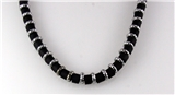 4030754 18 Inch Silver Tone and Wood Bead Necklace Choker Puka Style Fashion