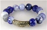 4030787 Fashion Blue Bead Marbelized CZ Diamond Stretch Bracelet