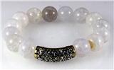 4030788 Fashion Natural Pearl Like Bead Marbelized CZ Diamond Stretch Bracelet