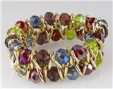 4030814 Multi Color Faceted Bead Gold Tone Stretch Bracelet Stunning Earth Tones