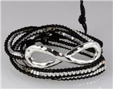 4030824 Infinity Leather Wrap Bracelet Eternity Symbol Bead Beaded Style Fashion