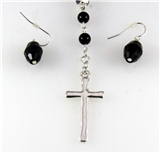 4030830 Christian Cross Necklace & Earring Set Religious Scripture Bible Jesus