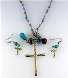 4030833 Christian Cross Necklace & Earring Set Religious Scripture Bible Jesus