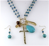 4030834 Christian Cross Necklace & Earring Set Religious Scripture Bible Jesus