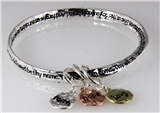 4030859 Our Father Lord's Prayer Bangle Charm Bracelet Christian Jesus Bible