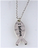 "4030869 I Believe Pendant Necklace 16"" Chain w Extender Fish Christian Gift"